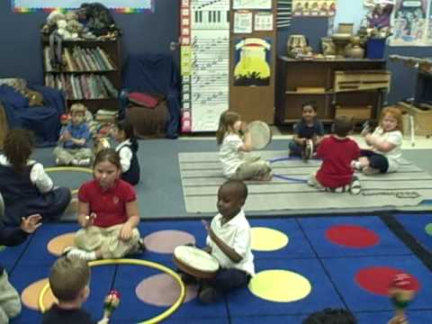 "A music class activity with a ""double kindergarten"" class"