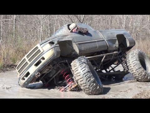 "ALMOST ROLLS!! DODGE CUMMINS 4x4 on 54"" BOGGERS ROALIN COAL!!"