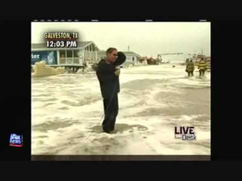 Geraldo Gets Knocked Over by a Hurricane Ike Wave