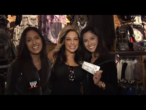 "Kaitlyn hides with WrestleMania tickets to give away in WWE's ""Hide and Tweet"" contest in New Jersey"