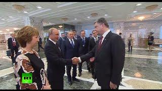 При рукопожатии с Путиным Порошенко изменился в лице