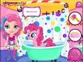 Фрагмент с начала видео - My Little Pony showers - Bathing Barbie Girls Games
