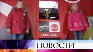 На стадионе «Краснодар» презентовали Кубок Чемпионата мира по футболу FIFA.
