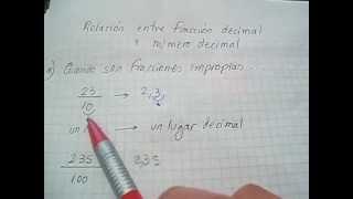 Como se escribe un número decimal a partir de una fracción. Mica