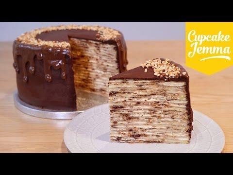 How to Make an EPIC Nutella Crepe Pancake Cake! | Cupcake Jemma