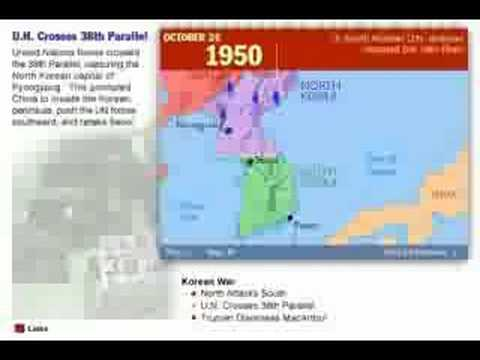 History of the Korean War 1950 - 1953 Map
