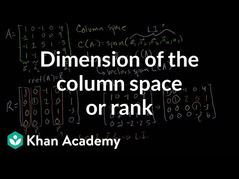 Dimension of the Column Space or Rank