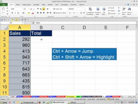 Office 2010 Class #40: Excel SUM Function Keyboard Shortcut for 5000 Rows of Data