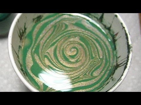 OPI Green & Holo Bronze Water Marble Nail Art Tutorial