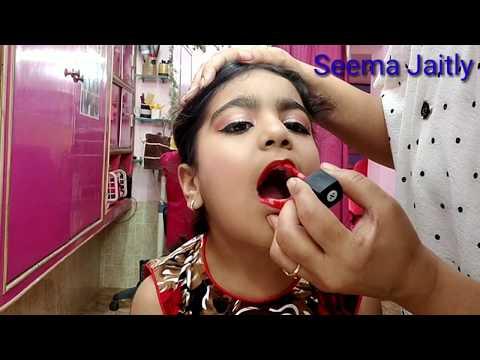 Baby girl school stage makeup!! In curly hair HighBun!! seema jaitly