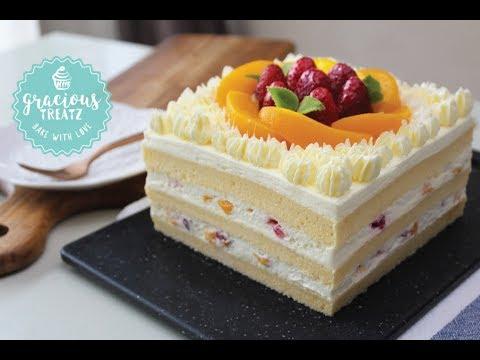 Cotton Soft Vanilla Sponge Peach Cake