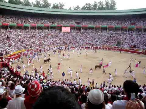 Llegada plaza toros tercer encierro 9 Julio 2010