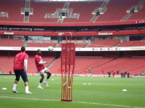 Arsenal Players playing Football Tennis