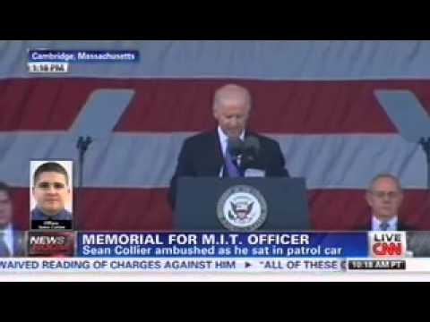 Biden Cracks Joke at Memorial Service for Slain Police Officer