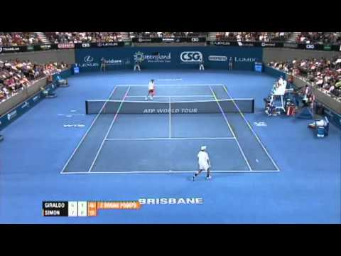 Santiago Giraldo v Gilles Simon Highlights Men's Singles Quarter Final: Brisbane International 2012