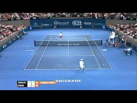 Santiago Giraldo v Gilles Simon Highlights Men's Singles Quarter Final: Brisbane International 2012