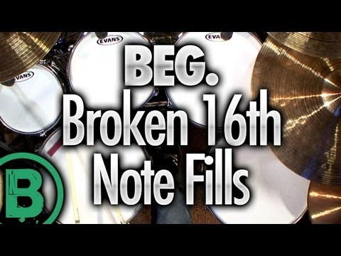 Broken 16th Note Drum Fills - Beginner Drum Lessons