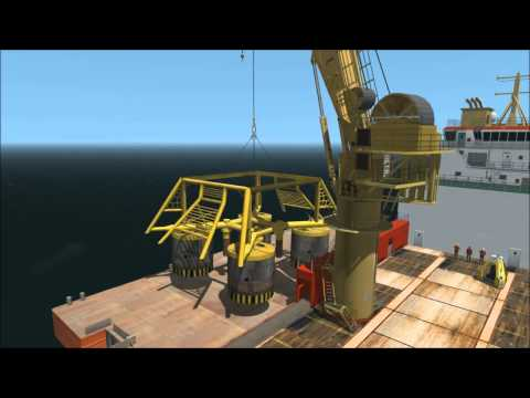 Vortex - Offshore knuckle boom crane performing a subsea lift of a template from vessel to seabed