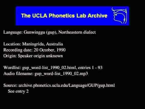 Gunwinggu audio: gup_word-list_1990_02