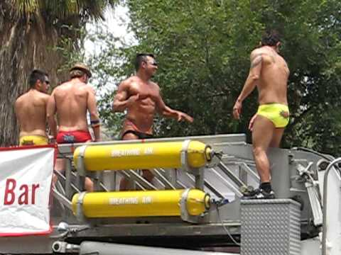 Underwear guys go-go on fire truck at L.A./West Hollywood Gay Pride ...
