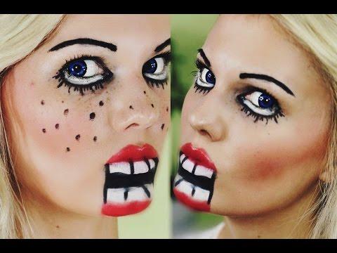 Einfaches Schnelles Halloween Make Up Psycho Puppe 04 49