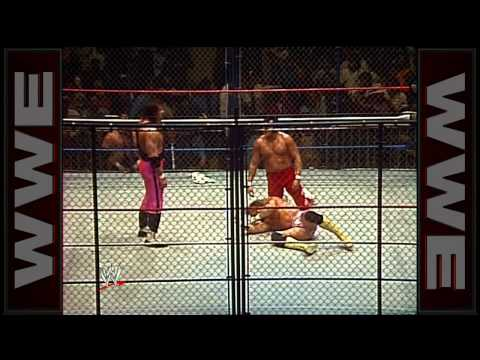 """Macho Man"" Randy Savage and Strike Force vs. Hart Foundation and Honkytonk Man - Cage Match: Boston"