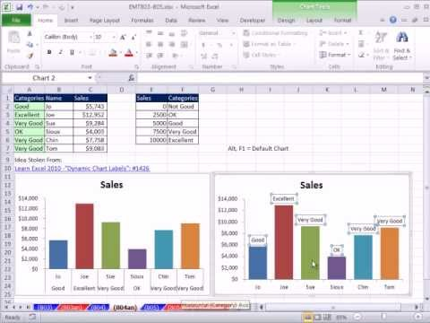 Excel Magic Trick 804: Chart Double Horizontal Axis Labels &amp; VLOOKUP to Assign Sales Category