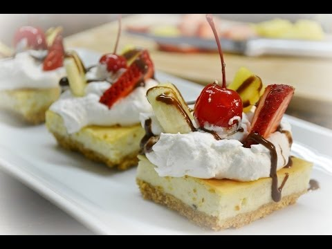 Banana Split Cheesecake Squares Recipe | RadaCutlery.com