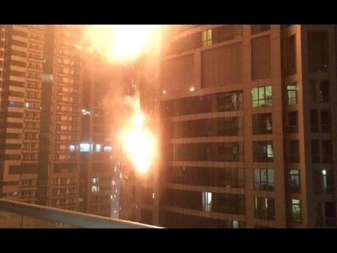 فيديو : الدفاع المدني بدبي يكشف تفاصيل حريق دبي مارينا