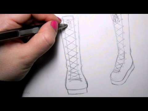 How to Draw Manga Shoes: Tall Lace-Up Boot