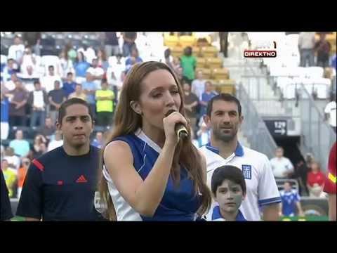 Kalomira sings Greece national anthem | Nigeria - Greece
