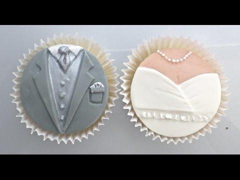 Karen Davies Cake Decorating Moulds / molds - Bride & Groom Cupcakes - free beginners tutorial