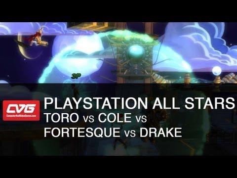 PlayStation All Stars Gameplay - Toro vs Cole vs Fortesque vs Drake