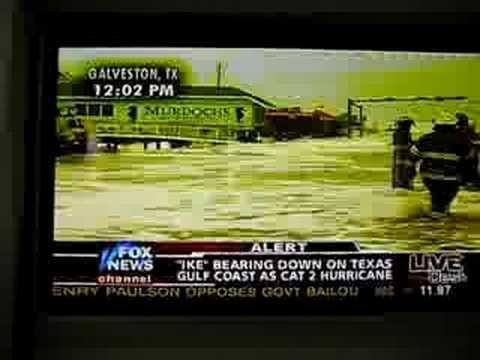Geraldo Rivera Falling on Fox News (Hurricane Ike)