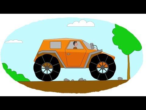 Мультик - Раскраска. Учим Цвета - Мультфильмы про машины - Вездеходы - Часть 2