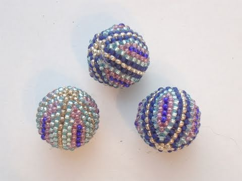 Tutorial: How To Make Beaded Bead (Wooden Bead 12mm and Seed Beads 15/0) Part 1