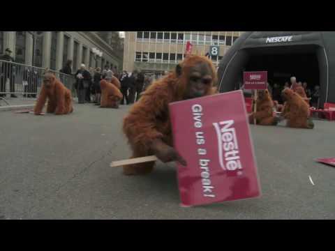 Los orangutanes llegan a la asamblea de Nestlé