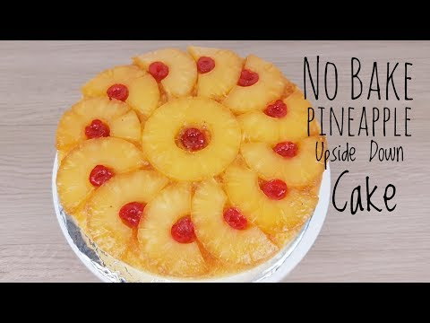 No bake Pineapple Upside down cake   Steamed cake (Easy Recipe)