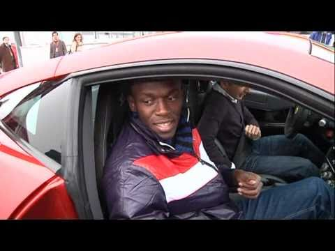Usain Bolt test drives Ferrari 458 Italia and 599 GTB at Fiorano