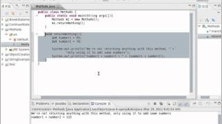 Java Video Tutorial 23: Methods