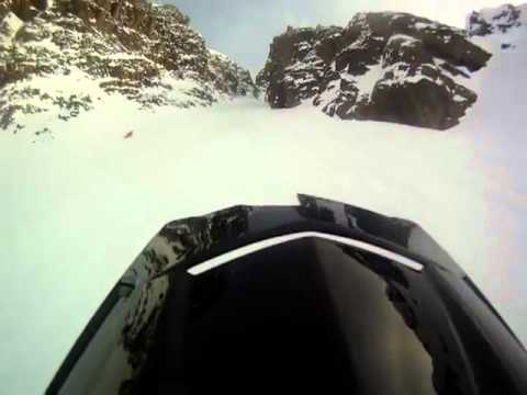 Amazing Snowmobile crash video