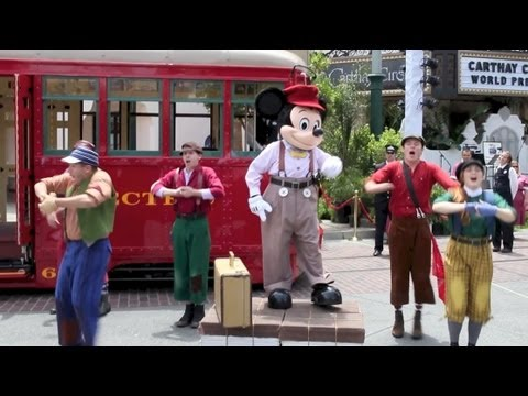 Mickey Mouse and the Red Car News Boys performing at Disney California Adventure