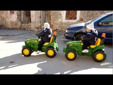 Kids's pedal tractor race, chase and crashes