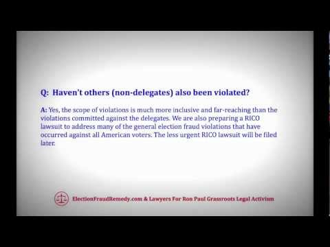 Lawyers For Ron Paul Civil Rights (Voting Rights) Lawsuit FAQ