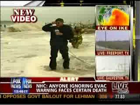 Geraldo Rivera dunked by Hurricane Ike (repeatedly)