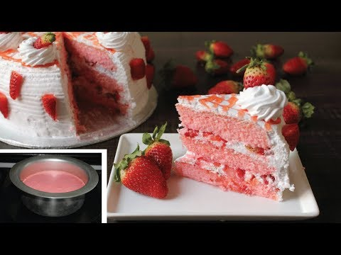 Strawberry Cake Recipe  No Baking Pan  No Oven Cake Recipe- Cake recipe without Oven