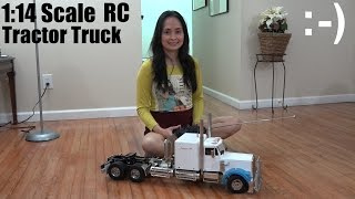 RC Cars, Trucks and Tanks: She's Driving a White Trailer Tractor Truck Indoor :-)