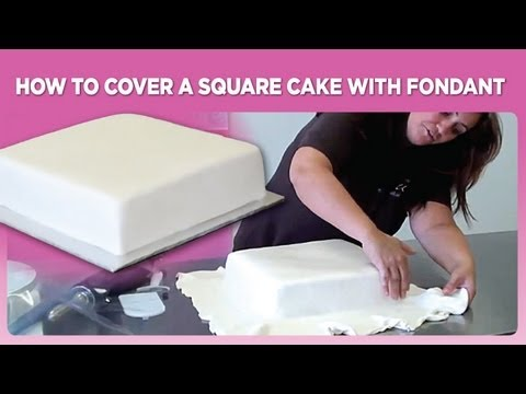 How to cover a square cake with fondant