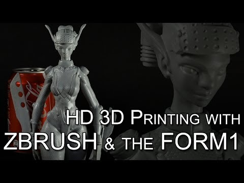 3D sculpting and 3D Printing timelapse with ZBrush and the Form1