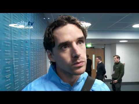 Carling Cup - Manchester City v Birmingham City: Owen Hargreavs reacts to his debut and goal